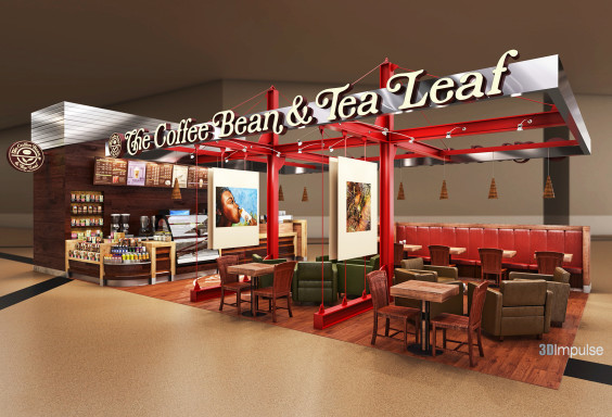 Airport Kiosk Coffee Bean & Tea Leaf Design 1