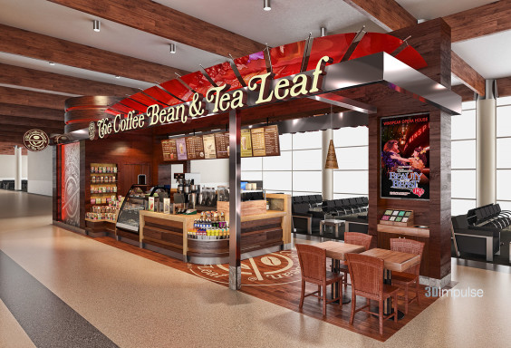 Airport Kiosk Coffee Bean & Tea Leaf Design 3